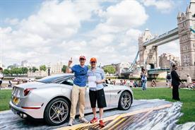 Winners of the Shell and Ferrari treasure hunt celebrate