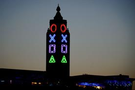Sony PlayStation 4: Oxo Tower is decked with game console symbols