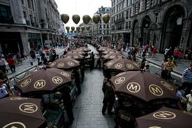 Regent Street was decorated with branded gold balloons