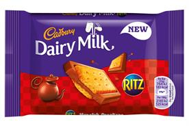 Cadbury: combines Dairy Milk chocolate with Ritz crackers