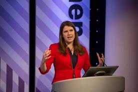 Jo Swinson speaking at last year's Omniwomen UK event