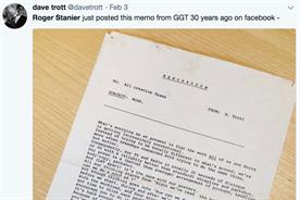 Dave Trott's tweet of a memo he wrote 30 years' ago