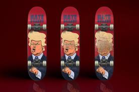 Ad creatives make skateboards that let you grind Trump's face into the rails