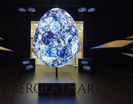Interactive Fabergé egg window display at Harrods