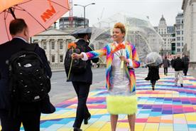 Gemma Cairney brightened up commuters' days this morning on London Bridge