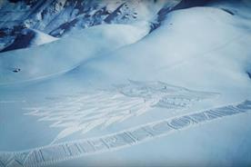 Simon Beck took 64,800 steps to create the artwork (YouTube/Sky Atlantic)