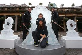 The throne was created by Glacial Art Ice Sculptors