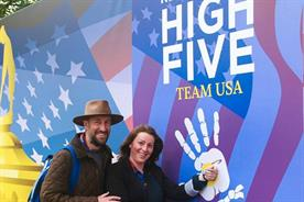 Guests high five Team USA with RFID tech