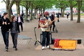 Nile Rodgers busked on the South Bank this morning (22 June)