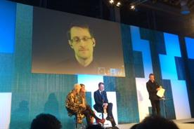 Edward Snowden speaks via video link at Nesta's Futurefest