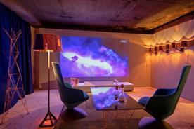 Sony is showcasing its 4K laser projector in a lounge space