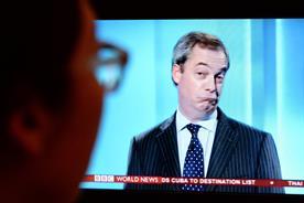 Nigel Farage grimaces on a live election TV debate