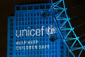 A number of landmarks were lit up blue in support of children affected by the Syrian crisis