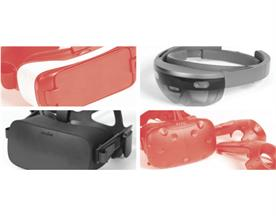 From left to right: the Samsung Gear, the Microsoft HoloLens, the Oculus Rift and the HTC Vive.