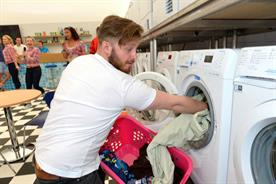Festival-goers could load up their muddy clothes in the brand's washer-dryers (Leo Wilkinson)