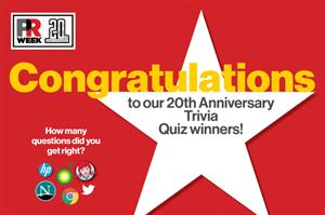 PRWeek U.S. picks 20th Anniversary Trivia Quiz winners