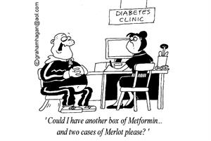 Cartoon: Could red wine improve type 2 diabetes patients' health?