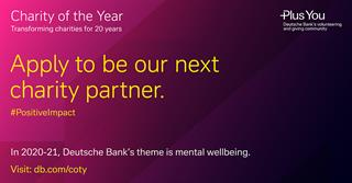 New opportunity to be Deutsche Bank's UK Charity of the Year - for two years