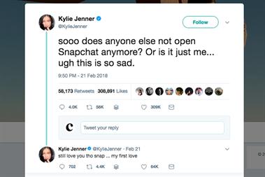 Snap's shares plummet after Kylie Jenner tweet