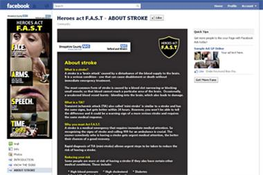 Facebook stroke page targets young audience