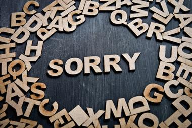 Saying sorry when things go wrong