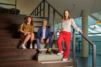 Left to right: Annalisa Roy, Asad Shaykh, Raquel Chicourel