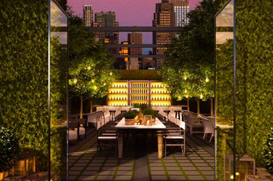 A rendering of how the rooftop will look