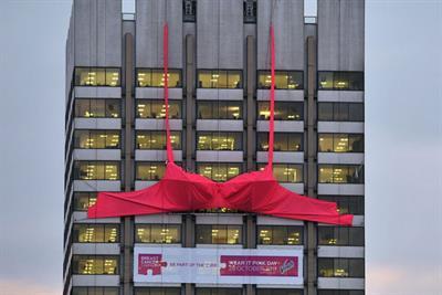 Vanish creates world's biggest bra for breast cancer awareness