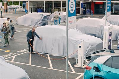 Volkswagen cloaks other car brands to promote electric charging