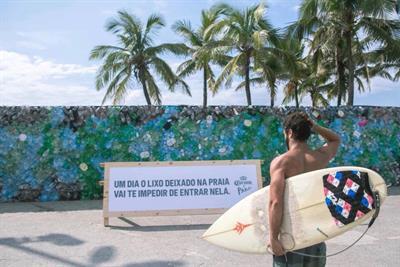 Corona builds plastic 'trash wall' on Ipanema Beach to warn of plastic pollution