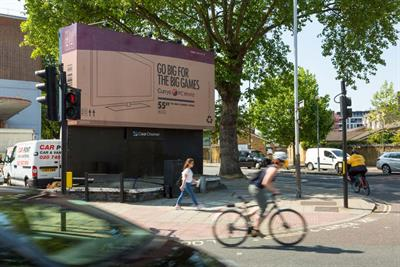 Currys PC World promotes big TVs by turning 48-sheet sites into giant cardboard boxes