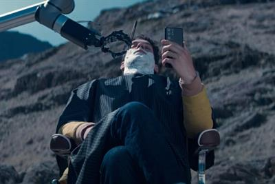 Tom Ellis gets 'a close yet far shave' in EE's high-altitude spot