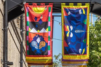 London district hangs bold flags depicting future of climate change