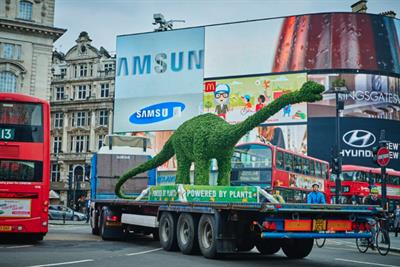 You are what you eat: Flora tours 'Florasaurus' dinosaur made from plants