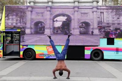 Watch: London Live bus tours capital with giant video screen