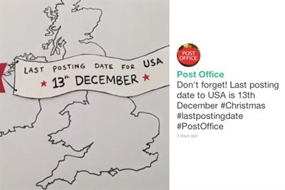 Post Office reminds people of Christmas post dates with Vine