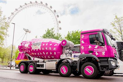 Propercorn tours UK in 33ft pink cement mixer