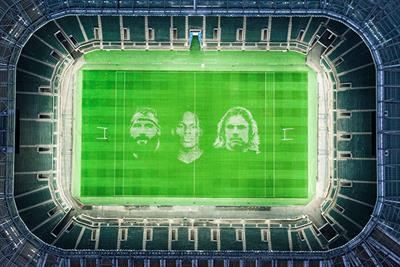 Artists create UK's biggest painting at Twickenham Stadium for rugby restart
