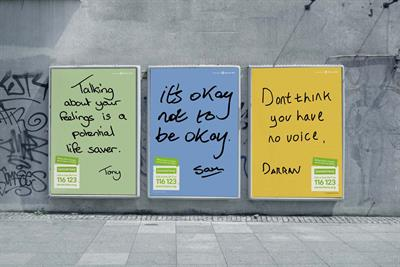 Samaritans campaign uses handwriting of real men