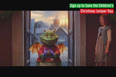 Edgar the dragon dons Christmas jumper in Save the Children Channel 4 takeover