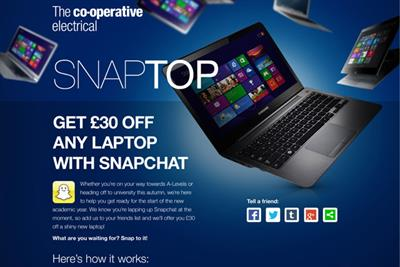 Co-op claims retail 'first' with Snapchat campaign