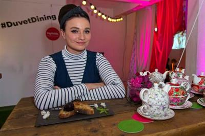 In pictures: TK Maxx hosts 'duvet' dining experience