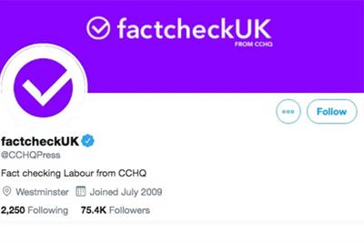 Twitter will not suspend Tories for posing as neutral fact-checkers