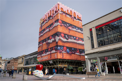 Channel 4 erects gigantic cake to stir up hype for 'Bake Off' return