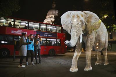 WWF tours holographic elephant around London landmarks