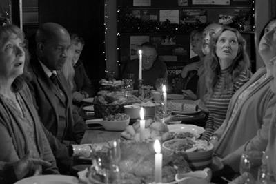 Waitrose covers an English village with snow in arty, black-and-white Christmas ad