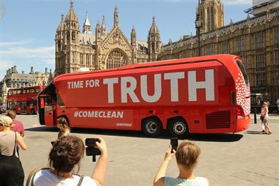 Greenpeace re-brands Boris' 'Vote Leave' bus outside Parliament