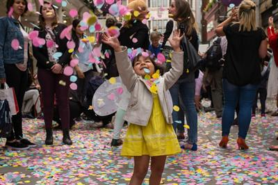 In pictures: Flower petals rain down at Boots Insneezia activation