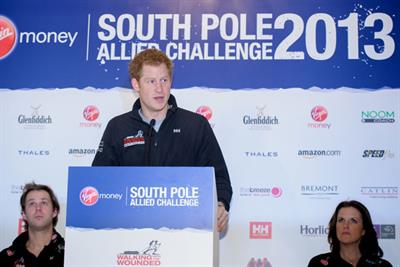 Prince Harry pays tribute to charity sponsors Virgin Money and Glenfiddich