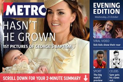 Metro launches evening tablet edition
